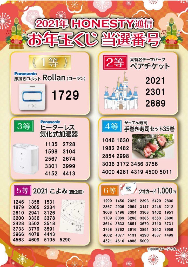 石田屋2021年お年玉お年玉くじ当選番号